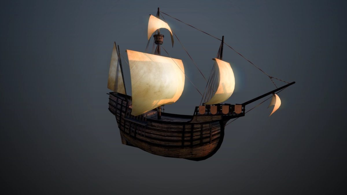 low poly ship game model MAX